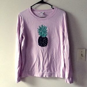 J Crew Pineapple Embroidered Sweater Thin Knit